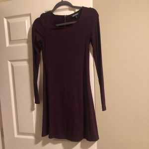 Express eggplant long sleeve dress